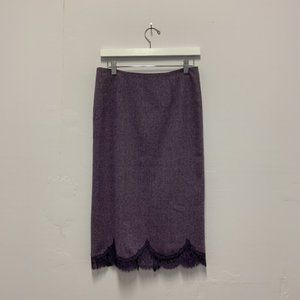 Rebecca Taylor purple tweed and lace pencil skirt